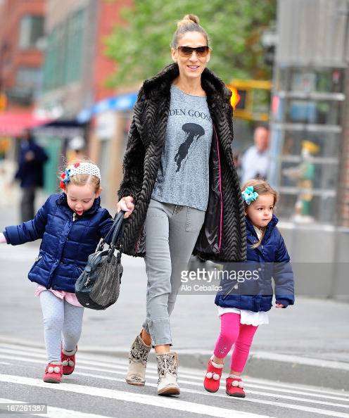 Sarah Jessica Parker and her twin daughters Tabitha Hodge Broderick and Marion Loretta Elwell Broderick are seen in West Village on April 23 2013 in...