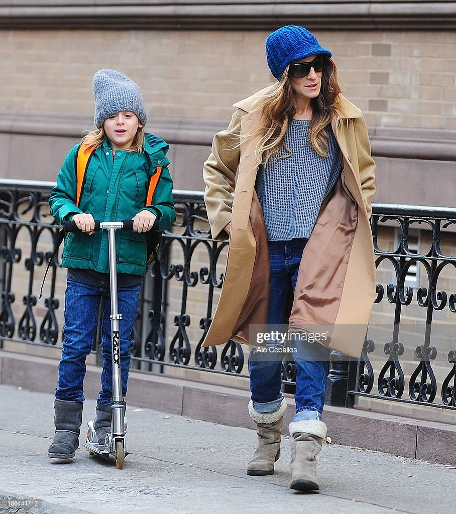 Sarah Jessica Parker and James Wilkie Broderick are seen in the West Village at Streets of Manhattan on November 15, 2012 in New York City.
