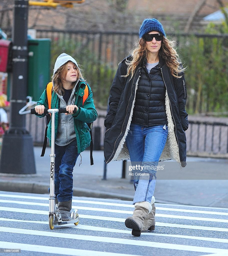 Sarah Jessica Parker and James Wilkie Broderick are seen in the West Village at Streets of Manhattan on November 26, 2012 in New York City.