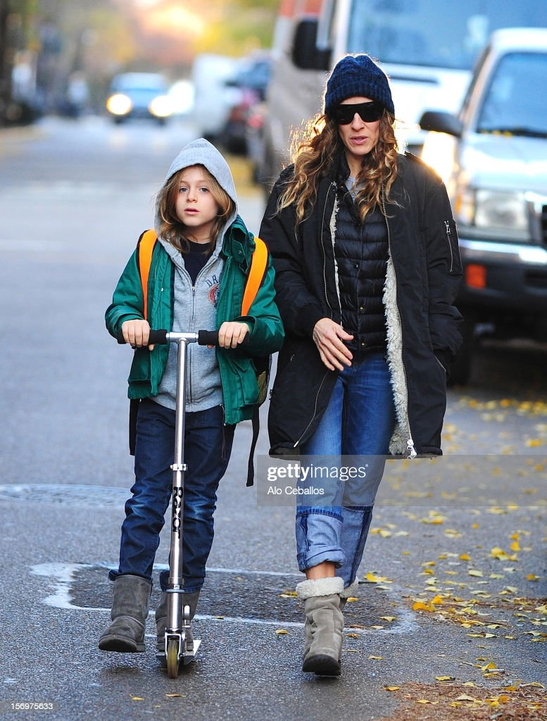<a gi-track='captionPersonalityLinkClicked' href=/galleries/search?phrase=Sarah+Jessica+Parker&family=editorial&specificpeople=201693 ng-click='$event.stopPropagation()'>Sarah Jessica Parker</a> and <a gi-track='captionPersonalityLinkClicked' href=/galleries/search?phrase=James+Wilkie+Broderick&family=editorial&specificpeople=5579643 ng-click='$event.stopPropagation()'>James Wilkie Broderick</a> are seen in the West Village at Streets of Manhattan on November 26, 2012 in New York City.