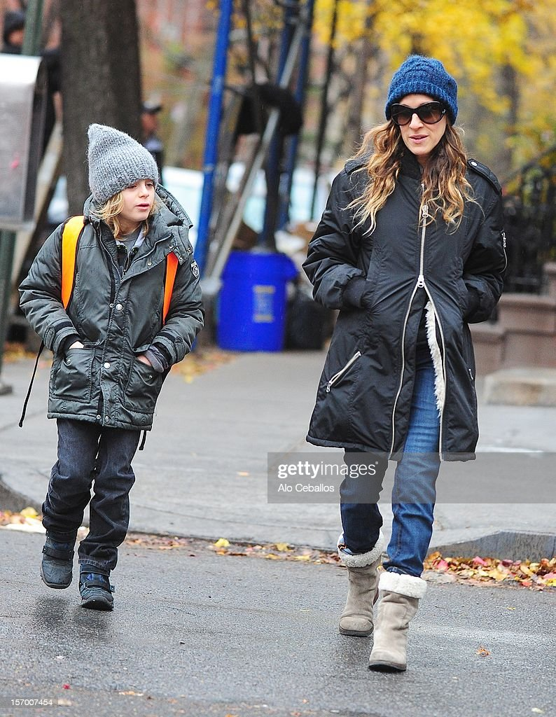 Sarah Jessica Parker and James Wilkie Broderick are seen in the West Village at Streets of Manhattan on November 27, 2012 in New York City.