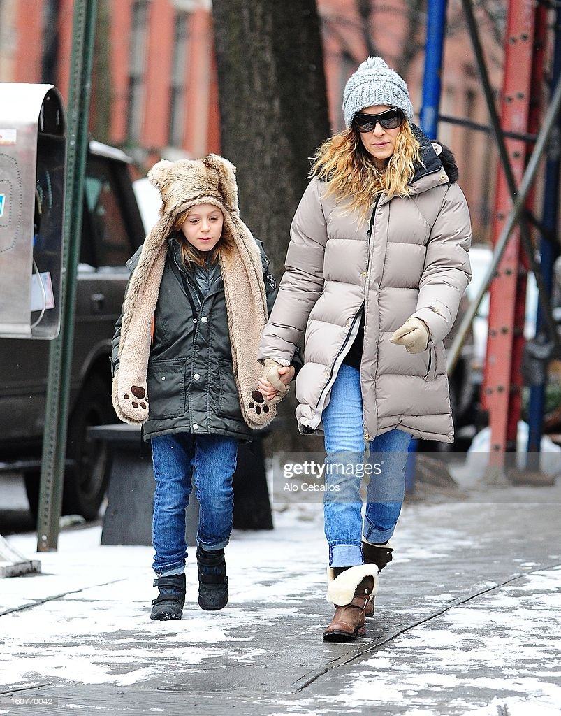 Sarah Jessica Parker and James Wilkie Broderick are seen in the West Village on February 5, 2013 in New York City.