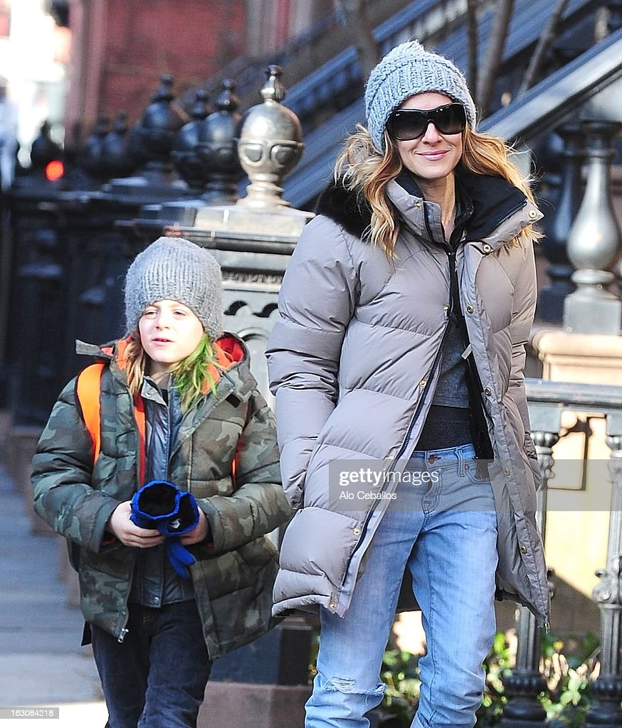 Sarah Jessica Parker and James Wilkie Broderick are seen in the West Village on March 4, 2013 in New York City.