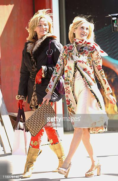 Sarah Jessica Parker and Kim Cattrall during Filming of Sex and the City's Last Season at West Village in New York NY United States