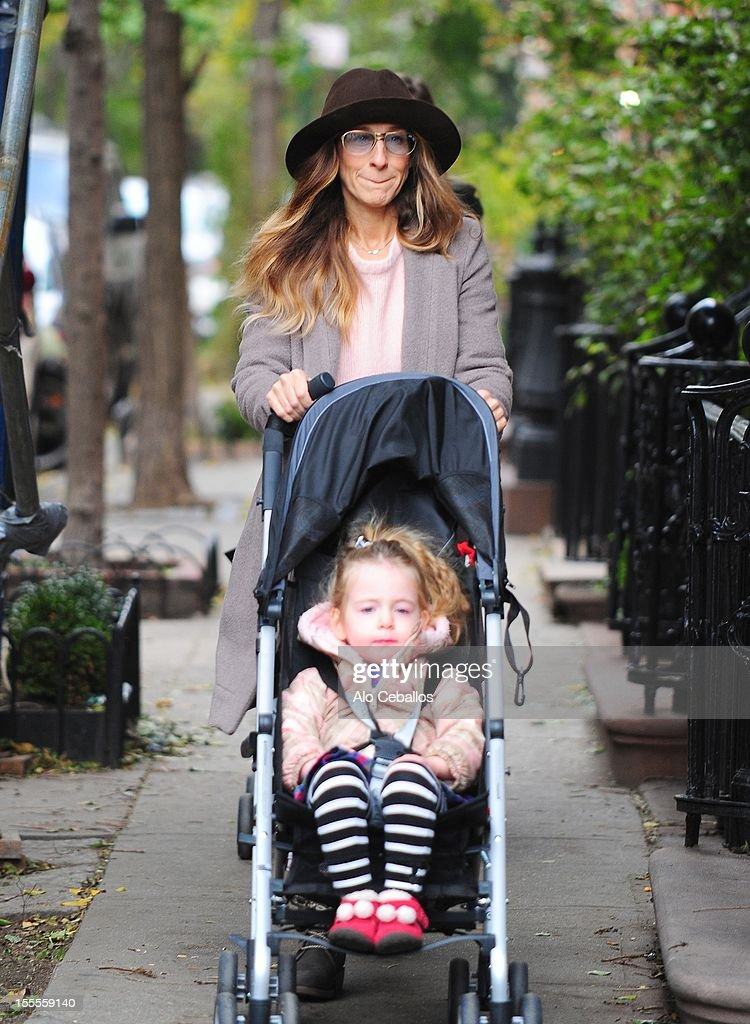 <a gi-track='captionPersonalityLinkClicked' href=/galleries/search?phrase=Sarah+Jessica+Parker&family=editorial&specificpeople=201693 ng-click='$event.stopPropagation()'>Sarah Jessica Parker</a> and <a gi-track='captionPersonalityLinkClicked' href=/galleries/search?phrase=Marion+Loretta+Elwell+Broderick&family=editorial&specificpeople=5947260 ng-click='$event.stopPropagation()'>Marion Loretta Elwell Broderick</a> are seen in the West Village at Streets of Manhattan on November 5, 2012 in New York City.
