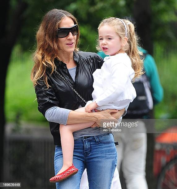 Sarah Jessica Parker and Marion Loretta Elwell Broderick are seen in the West Village on May 29 2013 in New York City