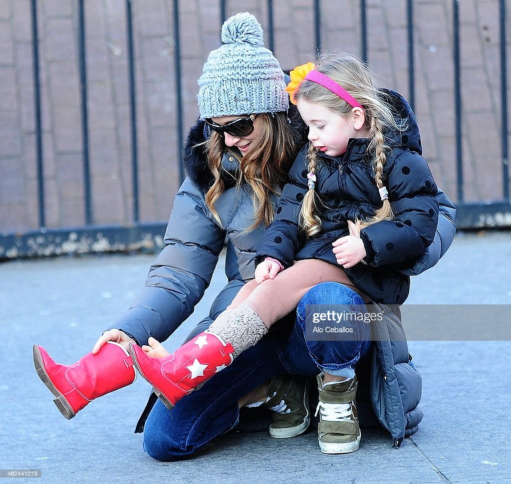Sarah Jessica Parker and Tabitha Hodge Broderick are seen in the West Village on January 13 2014 in New York City