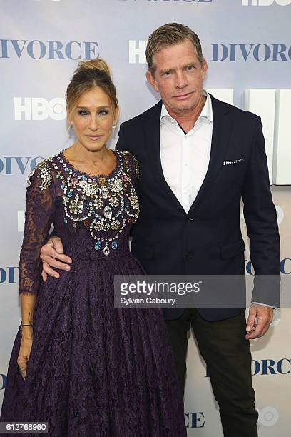 Sarah Jessica Parker and Thomas Haden Church attend HBO Presents the New York Red Carpet Premiere of 'Divorce' at SVA Theater on October 4 2016 in...