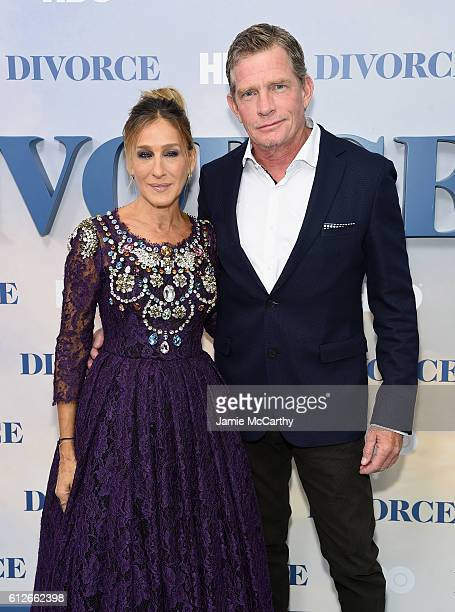 Sarah Jessica Parker and Thomas Haden Church attend the 'Divorce' New York Premiere at SVA Theater on October 4 2016 in New York City
