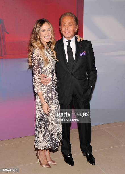 Sarah Jessica Parker and Valentino Garavani attend Valentino Garavani Virtual Museum Launch party at the IAC Headquarters on December 7 2011 in New...