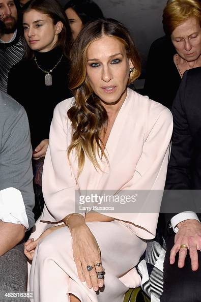 Sarah Jessica Parker attend the Tome fashion show during MercedesBenz Fashion Week Fall 2015 at The Pavilion at Lincoln Center on February 12 2015 in...
