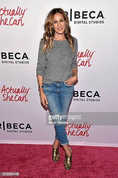 Sarah Jessica Parker attends the #ActuallySheCan Film Series event at Bow Tie Chelsea Cinemas on April 21 2016 in New York City