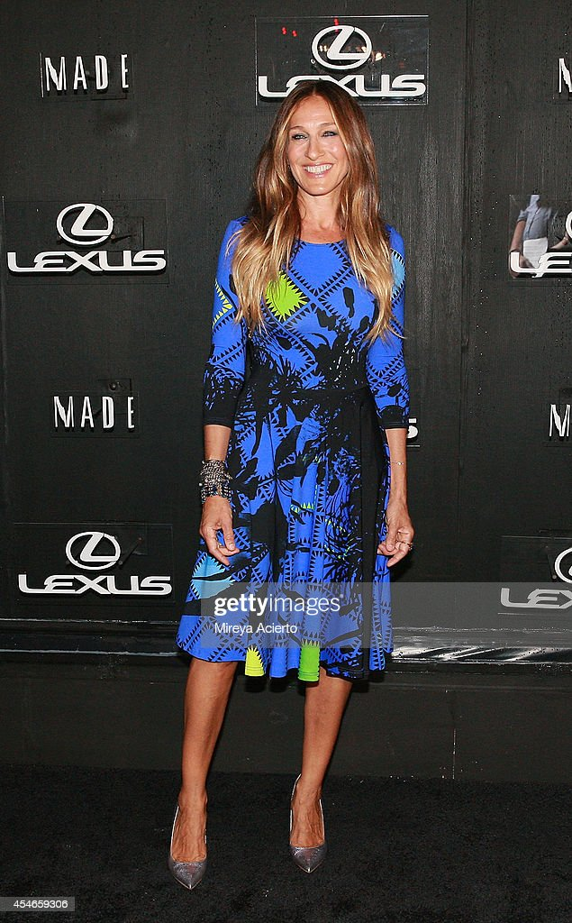 Sarah Jessica Parker attends the Lexus Design Disrupted Gareth Pugh fashion show during MADE Fashion Spring 2015 at Pier 36 on September 4 2014 in...