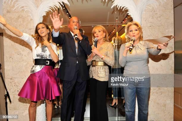 Sarah Jessica Parker Barbara Walters Oscar de la Renta and Bette Midler attend the Oscar de la Renta Fashion's Night Out party at the Oscar de la...