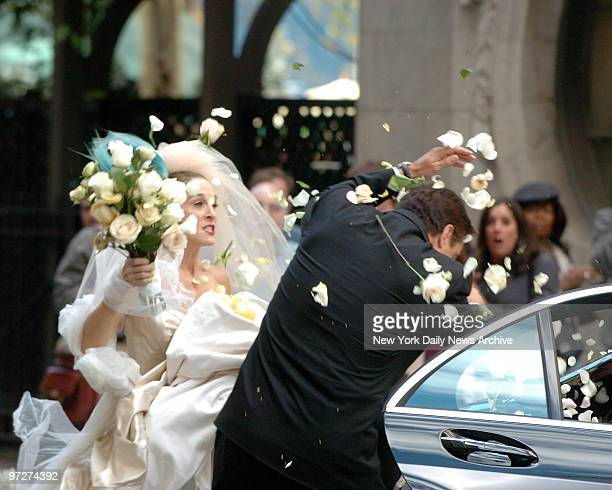 Sarah Jessica Parker confronts Chris Noth and hits him with a wedding bouquet on her wedding day when he stands her up on her wedding day during the...