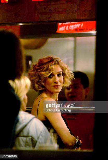 Sarah Jessica Parker during Sarah Jessica Parker on the set of 'Sex And The City' June 18 2002 at Gray's Papaya 6th Avenue and 8th Street in New York...