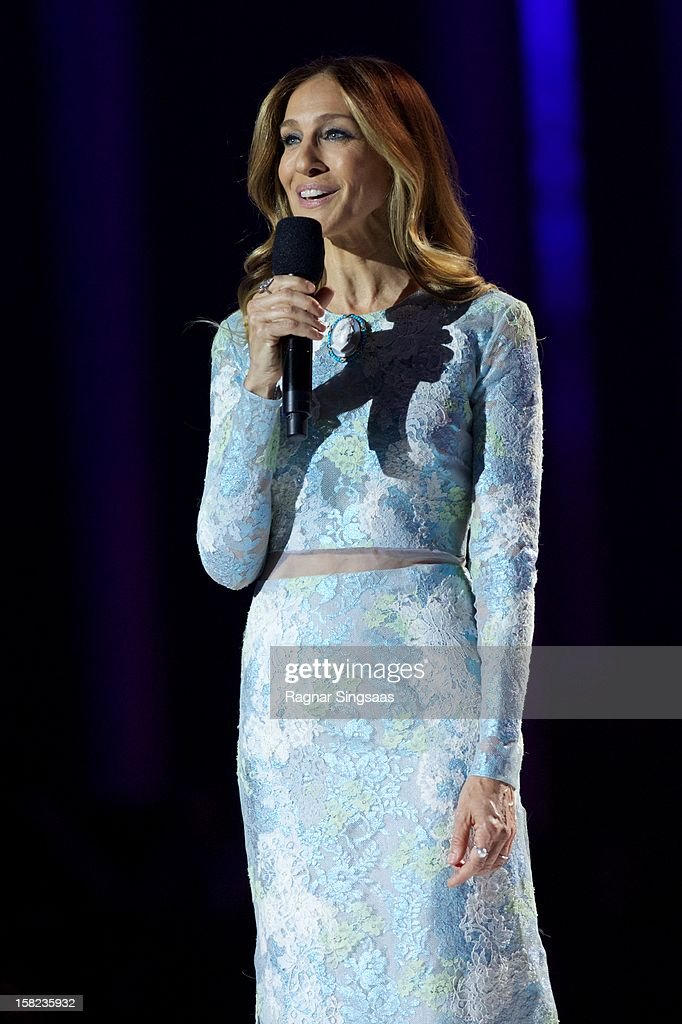 <a gi-track='captionPersonalityLinkClicked' href=/galleries/search?phrase=Sarah+Jessica+Parker&family=editorial&specificpeople=201693 ng-click='$event.stopPropagation()'>Sarah Jessica Parker</a> hosts the Nobel Peace Prize Concert at Oslo Spektrum on December 11, 2012 in Oslo, Norway.