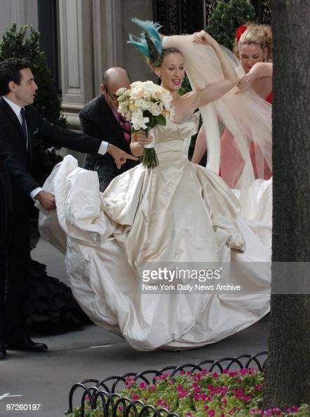 Sarah jessica parker wedding dress stock photos and for Sarah jessica parker wedding dress