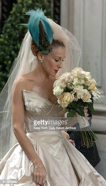 Sarah Jessica Parker in wedding dress at Filming of Sex And The City
