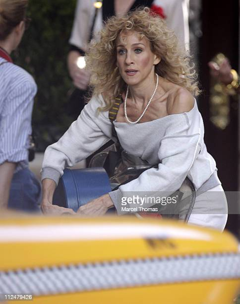 Sarah Jessica Parker is seen on the set of the movie 'Sex in the City 2' on location on the streets of Manhattan on September 1 2009 in New York City