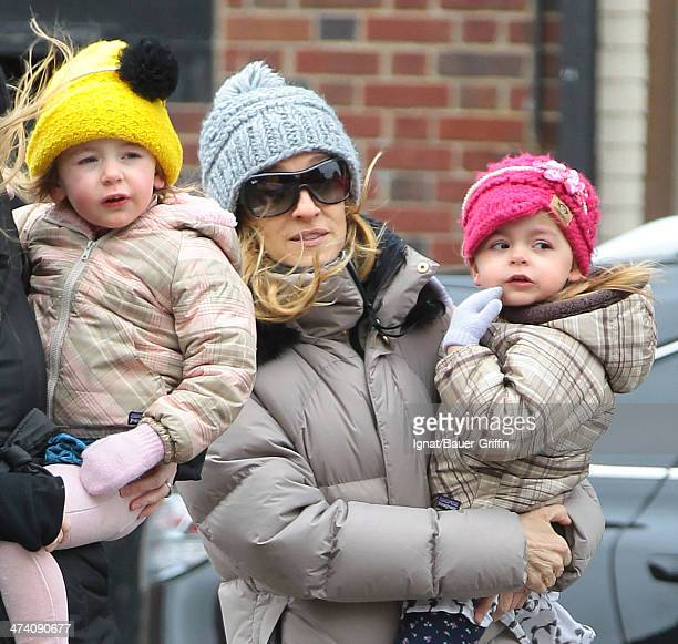 Sarah Jessica Parker is seen with her twins Marion Loretta Elwell Broderick and Tabitha Hodge Broderick on March 06 2013 in New York City