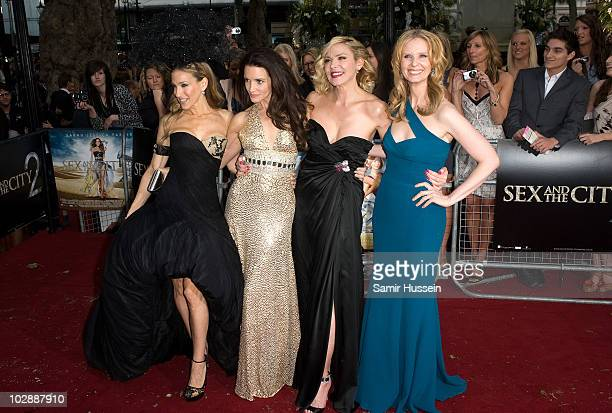 Sarah Jessica Parker Kristin Davis Kim Catrall and Cynthia Nixon attend the UK premiere of 'Sex and the City 2' at Odeon Leicester Square on May 27...