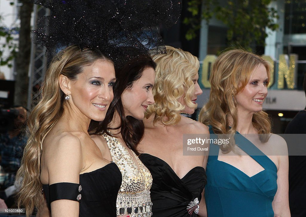 Sarah Jessica Parker, Kristin Davis, Kim Cattrall and Cynthia Nixon attend the UK premiere of 'Sex and the City 2' at Odeon Leicester Square on May 27, 2010 in London, England.