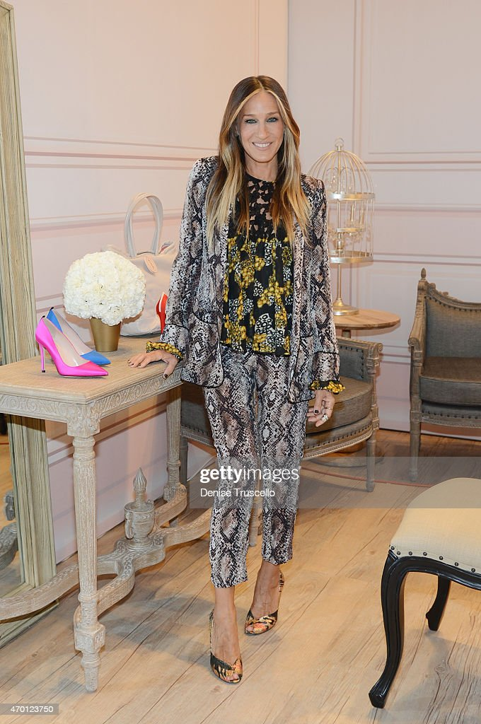 Sarah Jessica Parker launches SJP PopUp with Zappos Couture in The Shops at Crystals at Aria Las Vegas on April 16 2015 in Las Vegas Nevada