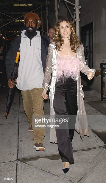 Sarah Jessica Parker leaves the set of 'Sex and the City' with a bodyguard January 5 2004 in New York