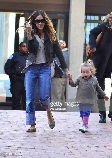 Sarah Jessica Parker Marion Loretta Elwell Broderick and Tabitha Hodge Broderick are seen at Streets of Manhattan on February 28 2012 in New York City