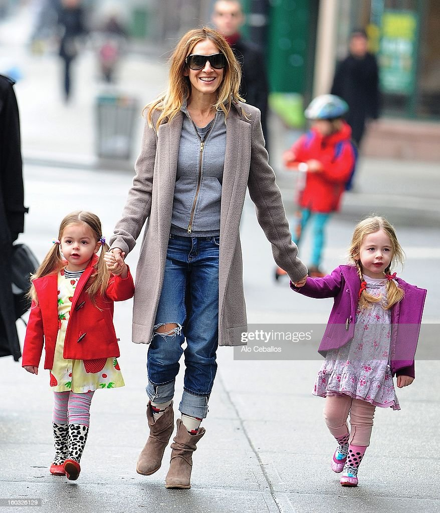 Sarah Jessica Parker, Marion Loretta Elwell Broderick and Tabitha Hodge Broderick are seen in the West Village on January 29, 2013 in New York City.