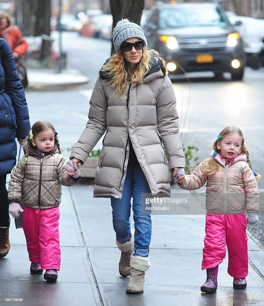Sarah Jessica Parker, Marion Loretta Elwell Broderick and Tabitha Hodge Broderick are seen in the West Village on February 5, 2013 in New York City.