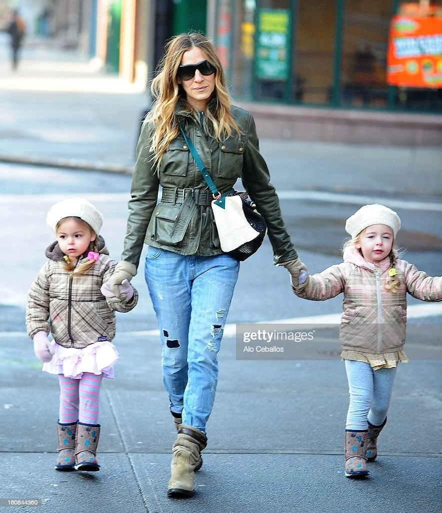 <a gi-track='captionPersonalityLinkClicked' href=/galleries/search?phrase=Sarah+Jessica+Parker&family=editorial&specificpeople=201693 ng-click='$event.stopPropagation()'>Sarah Jessica Parker</a>, Marion Loretta Elwell Broderick and Tabitha Hodge Broderick are seen in the West Village on February 6, 2013 in New York City.