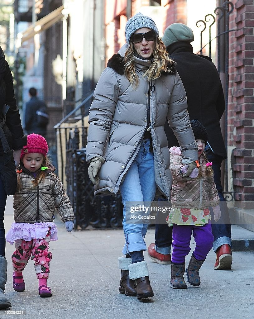 Sarah Jessica Parker, Marion Loretta Elwell Broderick and Tabitha Hodge Broderick are seen in the West Village on March 4, 2013 in New York City.