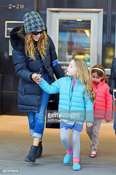 Sarah Jessica Parker Marion Loretta Elwell Broderick and Tabitha Hodge Broderick are seen on March 25 2015 in New York City