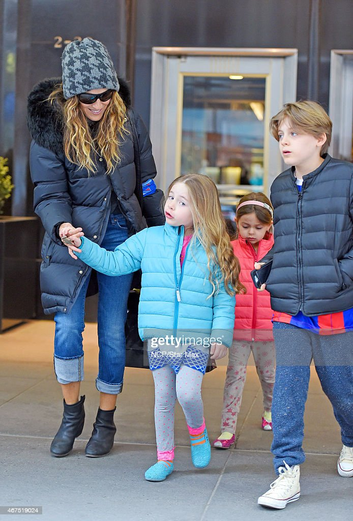 Sarah Jessica Parker Marion Loretta Elwell Broderick Tabitha Hodge Broderick and James Wilkie Broderick are seen on March 25 2015 in New York City