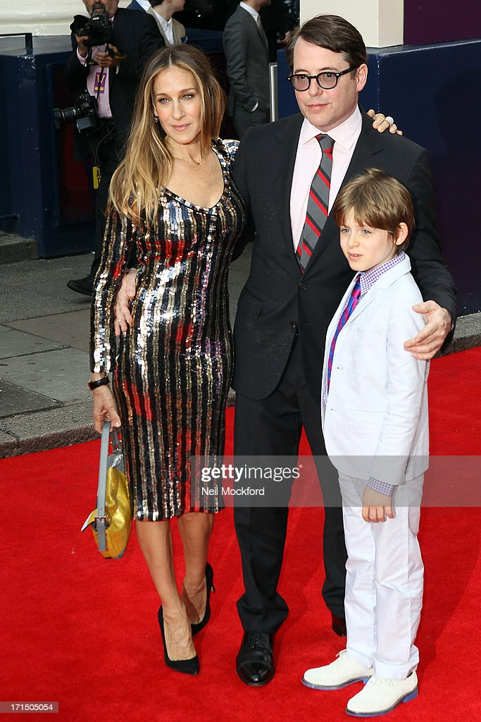 <a gi-track='captionPersonalityLinkClicked' href=/galleries/search?phrase=Sarah+Jessica+Parker&family=editorial&specificpeople=201693 ng-click='$event.stopPropagation()'>Sarah Jessica Parker</a>, <a gi-track='captionPersonalityLinkClicked' href=/galleries/search?phrase=Matthew+Broderick&family=editorial&specificpeople=201912 ng-click='$event.stopPropagation()'>Matthew Broderick</a> and James Wilkie attend the press night for 'Charlie and the Chocolate Factory' at Theatre Royal on June 25, 2013 in London, England.