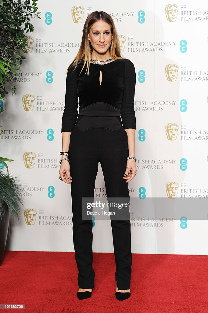 Sarah Jessica Parker poses in the press room at The EE British Academy Film Awards 2013 at The Royal Opera House on February 10 2013 in London England