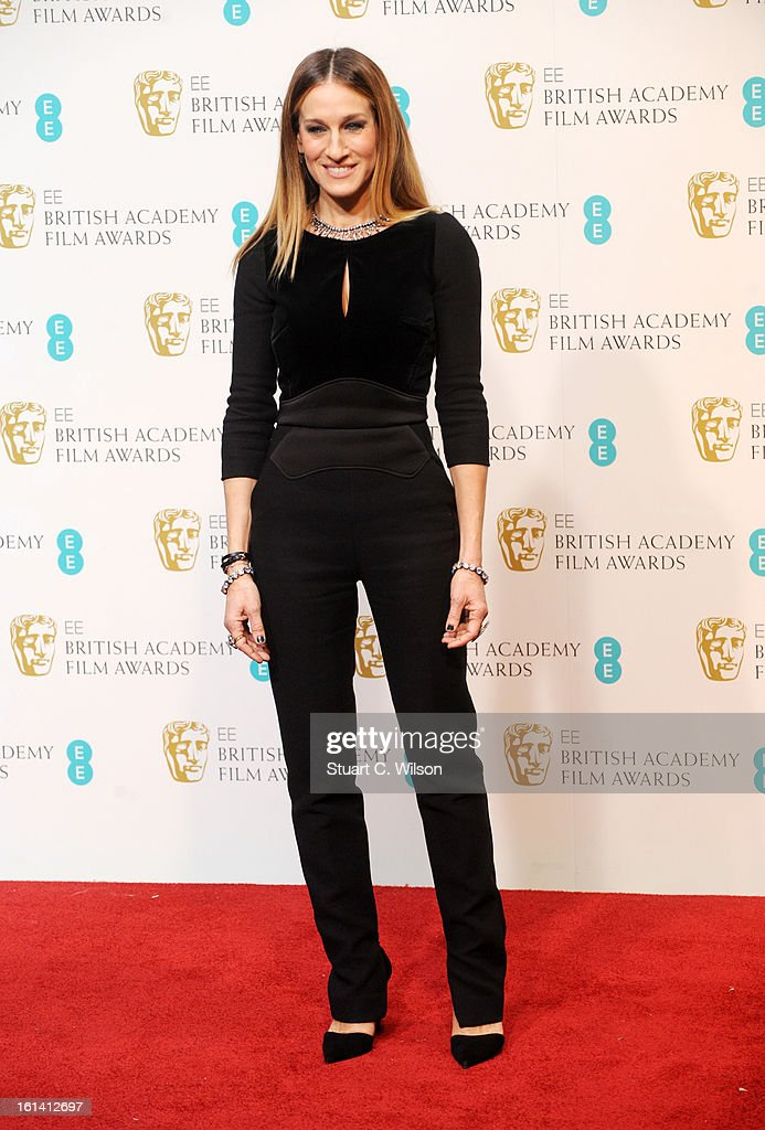 Sarah Jessica Parker poses in the press room at the EE British Academy Film Awards at The Royal Opera House on February 10 2013 in London England