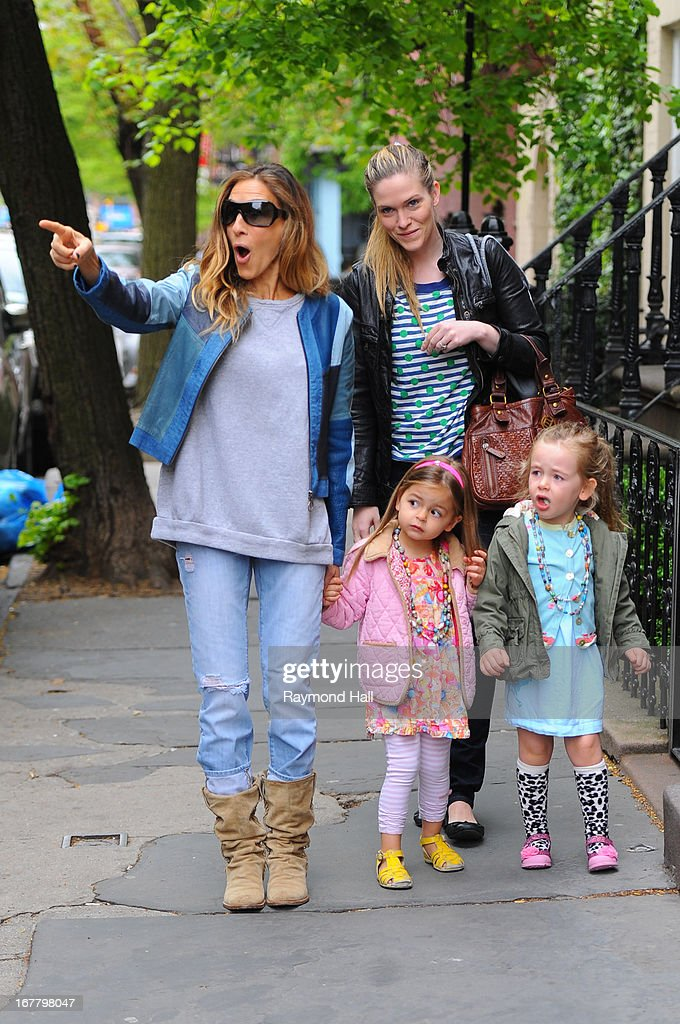 Sarah Jessica Parker, Tabitha Broderick and Marion Broderick are seen on April 30, 2013 in New York City.