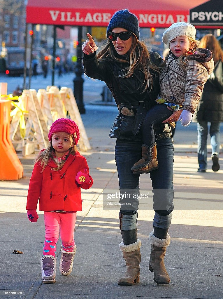 Sarah Jessica Parker, Tabitha Hodge Broderick and Marion Loretta Elwell Broderick are seen in the West Village at Streets of Manhattan on December 6, 2012 in New York City.