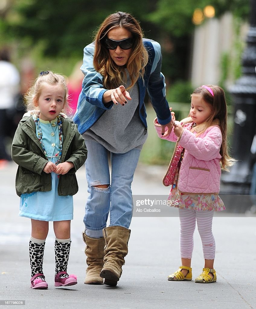 Sarah Jessica Parker, Tabitha Hodge Broderick and Marion Loretta Elwell Broderick are seen in the West Village on April 30, 2013 in New York City.