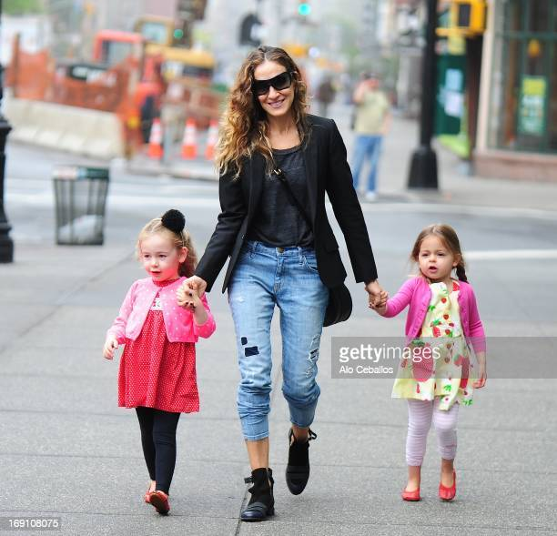 Sarah Jessica Parker Tabitha Hodge Broderick and Marion Loretta Elwell Broderick are seen in the West Village on May 20 2013 in New York City