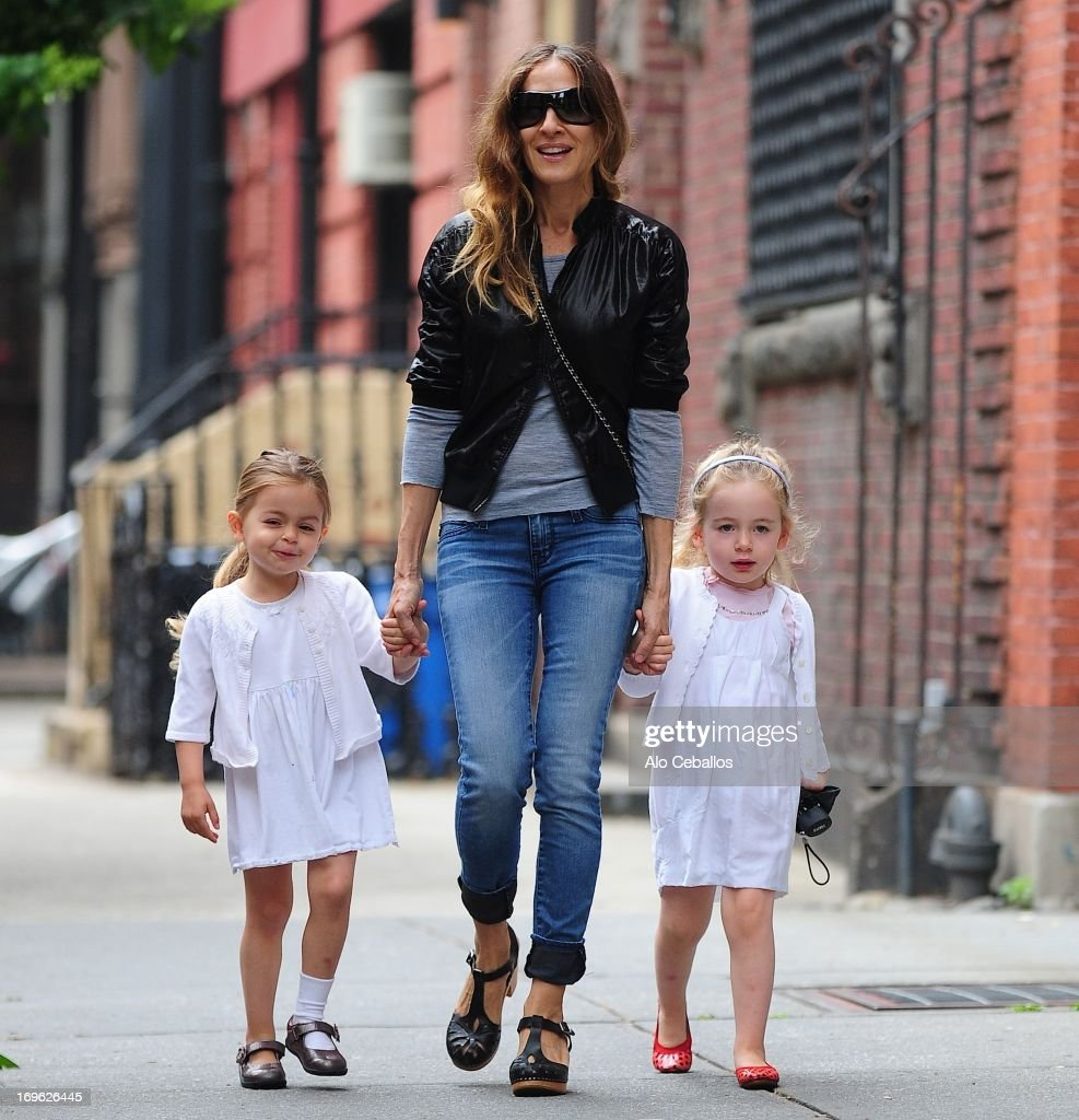 Sarah Jessica Parker Tabitha Hodge Broderick and Marion Loretta Elwell Broderick are seen in the West Village on May 29 2013 in New York City
