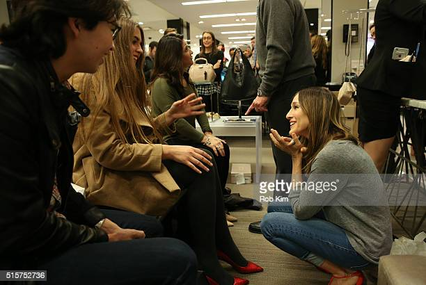 Sarah Jessica Parker talks with shoppers as she promotes her new line of designer shoes at Bloomingdales on March 15 2016 in New York City