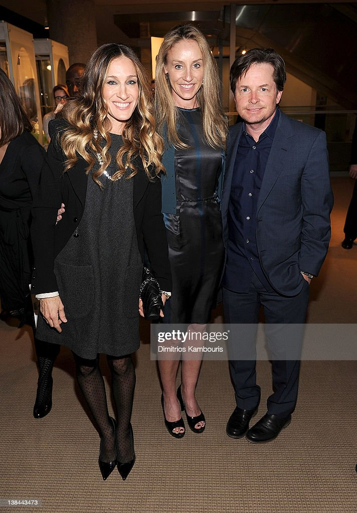 <a gi-track='captionPersonalityLinkClicked' href=/galleries/search?phrase=Sarah+Jessica+Parker&family=editorial&specificpeople=201693 ng-click='$event.stopPropagation()'>Sarah Jessica Parker</a>, <a gi-track='captionPersonalityLinkClicked' href=/galleries/search?phrase=Tracy+Pollan&family=editorial&specificpeople=216511 ng-click='$event.stopPropagation()'>Tracy Pollan</a> and <a gi-track='captionPersonalityLinkClicked' href=/galleries/search?phrase=Michael+J.+Fox&family=editorial&specificpeople=208846 ng-click='$event.stopPropagation()'>Michael J. Fox</a> attend the book launch party for Ali Wentworth's new book 'Ali In Wonderland' at Sotheby's on February 6, 2012 in New York City.