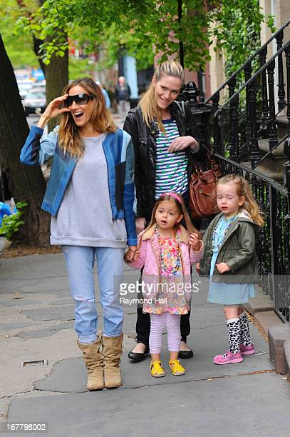 Sarah Jessica Parker walks children Tabitha and Marion Broderick to School April 30 2013 in New York City