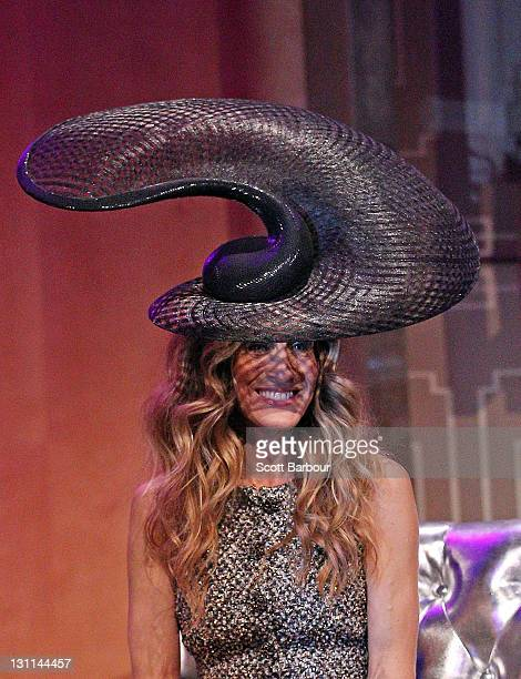 Sarah Jessica Parker wears a hat designed by Philip Treacy at the VRC Oaks Club Ladies Luncheon at Crown Palladium on November 2 2011 in Melbourne...