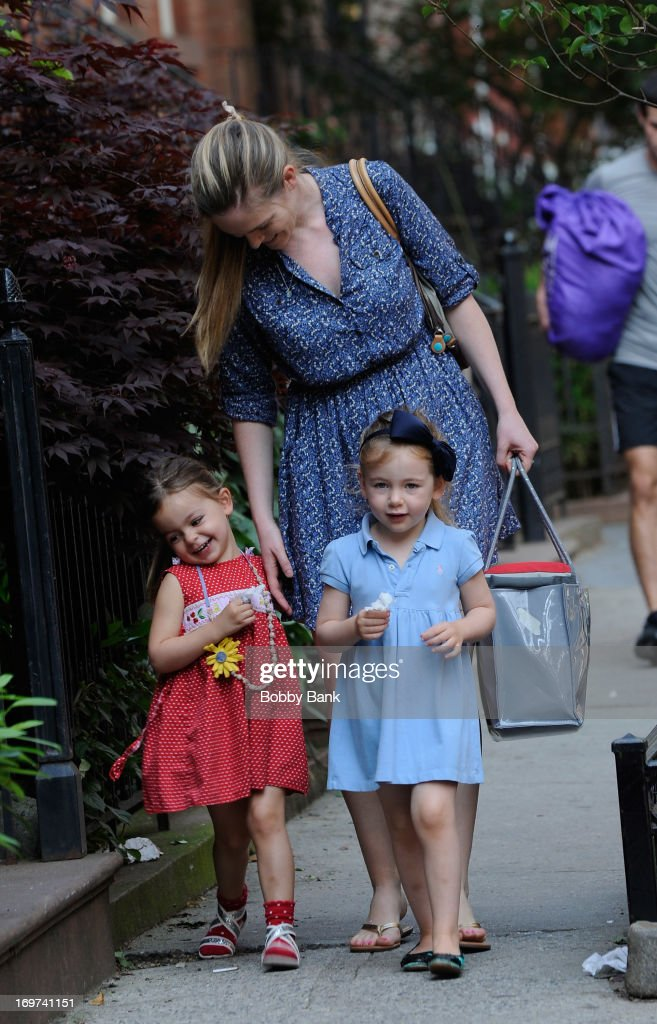 Sarah Jessica Parker's nanny bringsTabitha Broderick and Marion Broderick to school in the West Village on May 31 2013 in New York City
