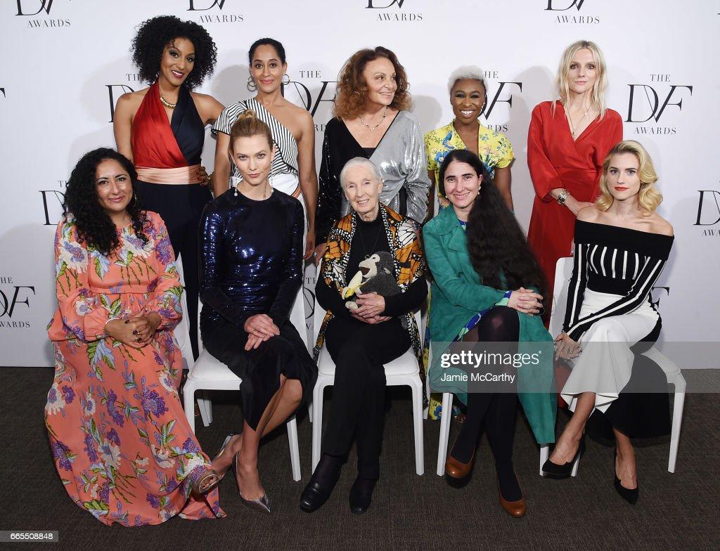 Sarah Jones, Tracee Ellis Ross, Diane von Furstenberg, Cynthia Erivo and Laura Brown, (Bottom row) Baljeet Sandhu, Karlie Kloss, Jane Goodall, Yoani Sanchez and Allison Williams attend the 2017 DVF Awards at United Nations Headquarters on April 6, 2017 in New York City.